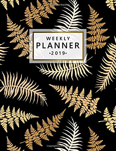 Weekly Planner 2019: Golden ethnic tribal feather fearn planner 2019 with weekly spreads, to-do lists, inspirational quotes and more. Large pretty galaxy print daily organizer. por Simple Planners