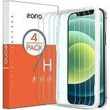[4 piezas] Amazon Brand - Eono Cristal Templado para iPhone 12/ iPhone 12 pro Protector pantalla de 6.1 pulgadas [Instalación