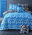HBS Pixel Bedding Set Double Bed Duvet / Quilt Cover Bedding Set Pixel Squares Reversible Check Bedding Duvet Cover with Pillowcases Blue & Grey produced by HBS - quick delivery from UK.