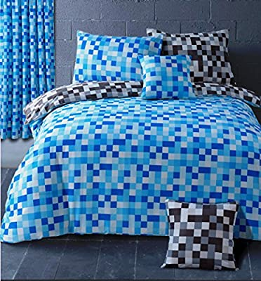HBS Pixel Bedding Set Double Bed Duvet / Quilt Cover Bedding Set Pixel Squares Reversible Check Bedding Duvet Cover with Pillowcases Blue & Grey - inexpensive UK light store.
