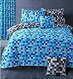 Uno par 66'x 72cortinas plus abrazaderas Pixel cuadrados azul/gris a cuadros, incluye abrazaderas