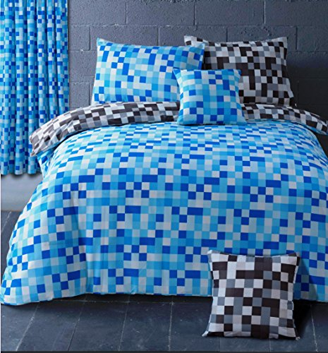 HBS Pixel Bedding Set King Size Bed Duvet / Quilt Cover Bedding Set Pixel Squares Reversible Bedding Duvet Cover with Pillowcase Blue & Grey