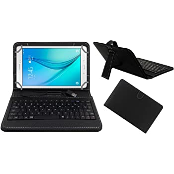 Acm Premium Usb Keyboard Tablet Case Holder Cover For Samsung Galaxy Tab A T355 With Free Micro Usb Otg - Black