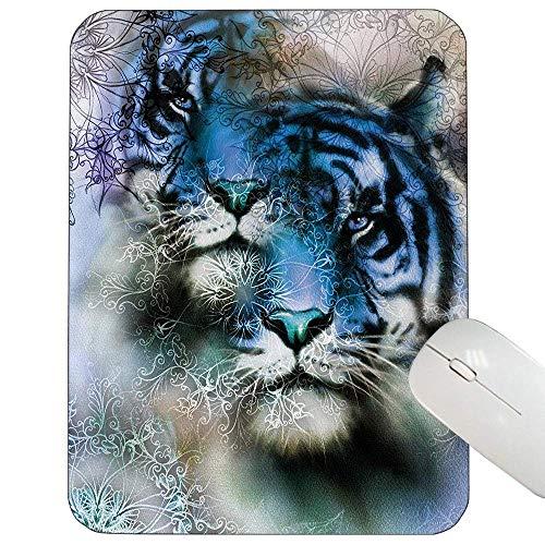 LANKA Mauspad für Tiere Two Tiger Safari Cat African Wild Furious Life Tiere Große Größe Illustration Mauspad Blau Schwarz und Weiß, Gummimatte 11,8 x 9,8 Zoll