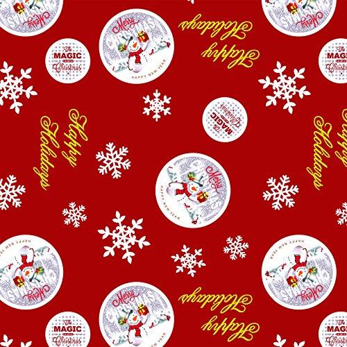 Tovaglia in tela cerata plastificata rettangolare 140 x 200cm, Natale, Rosso