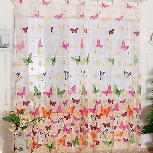 Lnimikiy, tende in voile, colorate, con stampa floreale e farfalle, per finestra o camera da letto (204 x 95 cm) (204 x 95 cm), come da immagine, 204cm by 95cm