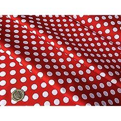 "Color blanco lunares, punto sobre rojo–10mm lunares–100%–tela de algodón Material–58""ancho–costura, Craft, Patchwork, telas–se vende por metros"