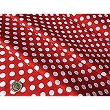 Color blanco lunares, punto sobre rojo – 10 mm lunares – 100% – tela