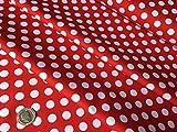 Weiß Polka Dot Spot auf Rot–10mm Spots–100%