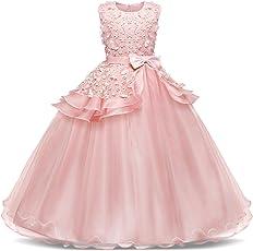 AmzBarley Filles Princesse Robe De Soirée Enfants Sans Manches De Baptême De Bal Bal De Mariage Robe Patineuse