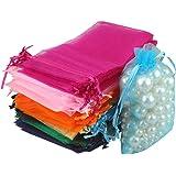 100Sacs Organza,Sachets Pochettes Cadeau en Organza Sac à bijoux,sachets pour lavande Idéales pour Bijoux Cadeaux Bonbons Mar