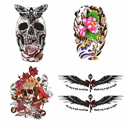 COKOHAPPY Groß Lady 4 Verschiedene Blätter Temporäre Tattoo Lotusblatt Rose Blume Flügel Engelsflügel Schädel Schmetterling Bogen Knoten Wort Fake Gefälscht Gefälscht Tattoo für Damen Herren