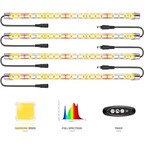 Lampada per Piante Samsung&Full Spectrum&rosse LED Strisce con timer 3/6/12ore 4 livelli di luminosità hanno portato la luce crescente per le piante d'appartamento dalla semina alla raccolta (84 LED)