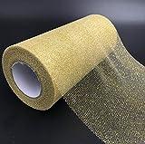 Glitter Tulle Rollenspule Pailletten Party Supplies funkelnde Pailletten Rollen für Hochzeit Dekoration oder Rock DIY Handwerk 25 Yards in Länge(Golden) - 5