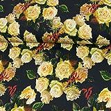 Stoffe Werning Baumwolljersey Digitaldruck Rosen gelb-weiß