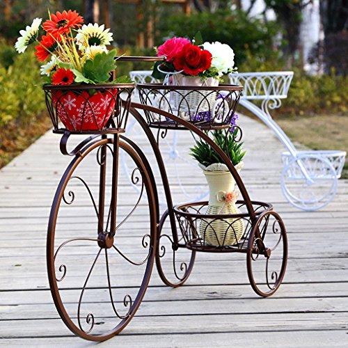 Fym Estante de la Flor de Hierro de Varios Pisos Bicicleta Modelado Balcón Sala de Estar Estante de macetas de Flores Planta Verde Multifuncional (Color : B)