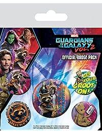 1art1 102892 Guardians of The Galaxy - Vol. 2, Rocket Raccoon & Groot, 1 X 38mm & 4 X 25mm Buttons Button Pack 15 x 10 cm