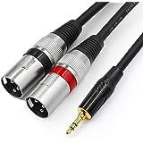 """TISINO Cable estéreo XLR de 3,5 mm a doble cable de 1/8 """"Mini Jack a 2 XLR macho Y Splitter Cable - 3,3 pies"""