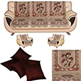 #6: Amazon Great Indian Festival Sale presents FAB NATION 10 Sofa Panels for 5 seater - Net sofa cover and chair cover set & Set of 5 Cushion Covers 16 inches -Brown