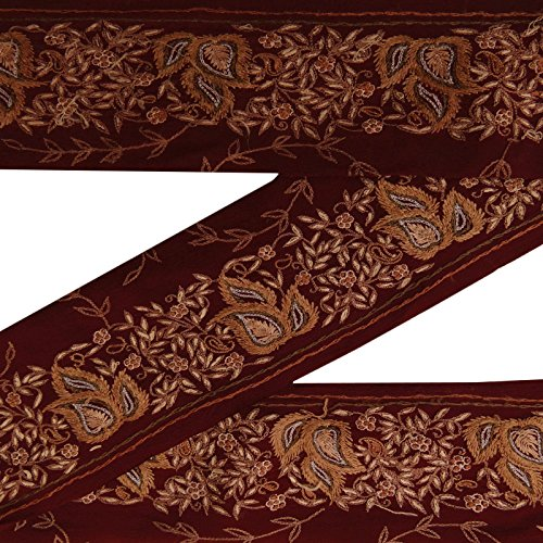 Indian Vintage-Used Sari Border gestickter Maroon Antike Band Nähen 1yd -