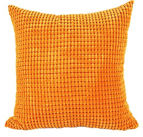 Fodera per cuscino quadrato/rettangolo solido Pinkycolor ChezMax Corduroy Lattice Throw Pillow Case Sham Slipover Pillowslip Federa per la casa divano letto sedia sedile posteriore, Orange, 28*28''WITHOUT FILLER