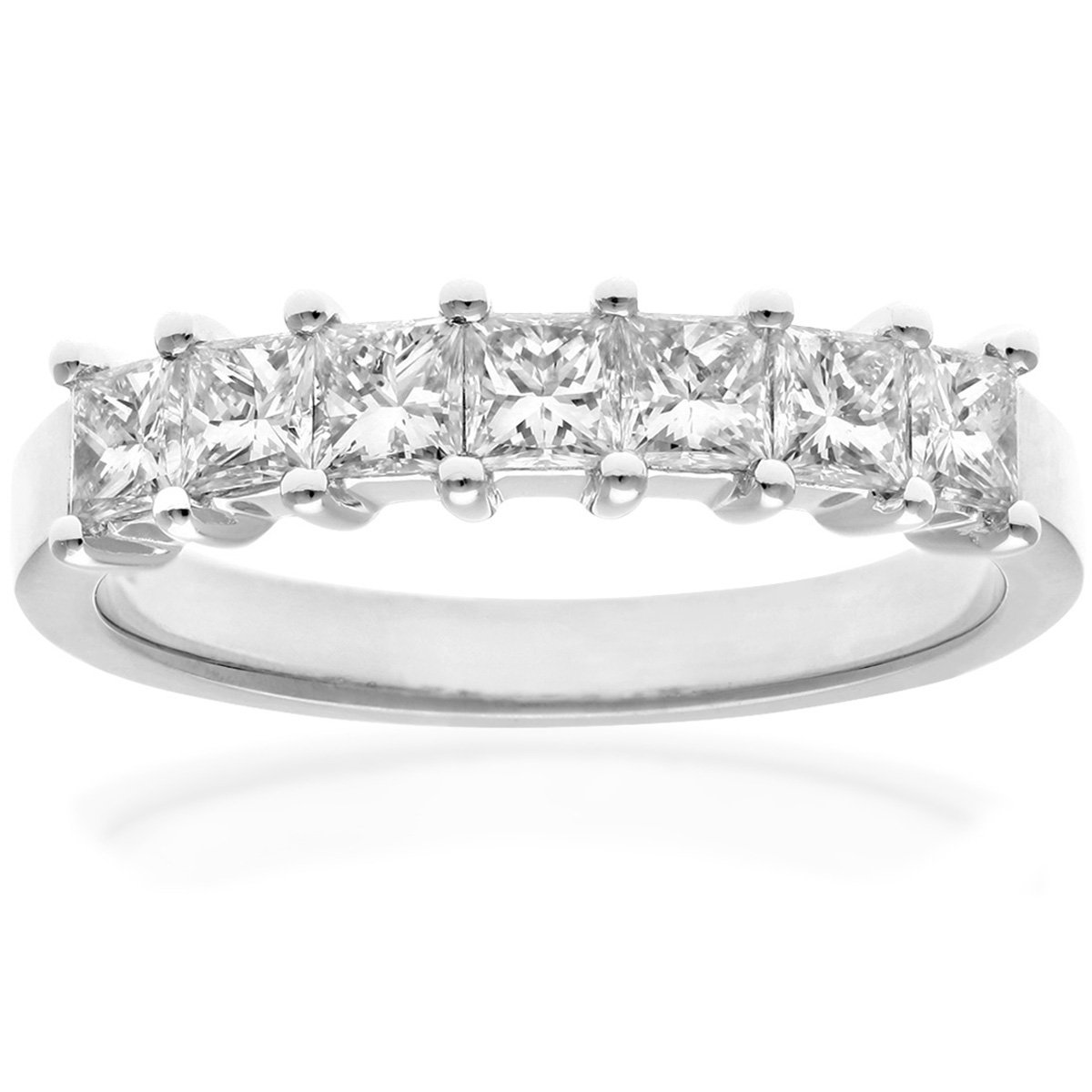 Naava Women's 18 ct White Gold Four Claw J/I Certified Princess Cut 0.33 ct Diamonds Eternity Ring