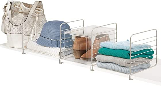 Shelving System without Drilling Chrome mDesign Set of 2 Practical Shelf Dividers for the Wardrobe Practical Wardrobe Organisers Made of Metal