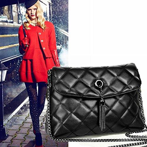 Weibliche paket Ling rasterkette paket Schulter diagonale paket tasche Schwarz