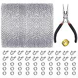 PP OPOUNT - Cadena de eslabones de acero inoxidable con 20 cierres de langosta y 30 anillos, alicates para joyería, abridor de anillos para collares, bisutería (2 mm)