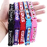 QIYUN.Z Colorful Floral Printed Nylon Pets Collar Adjustable Puppy Cat Dog Collar Pet Supplies ONE RANDOM COLOR SEND