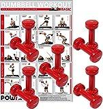 POWRX Vinylhanteln Hanteln inkl. Workout Hantelset Kurzhanteln 5 Paar in verschiedenen Größen (1 kg)