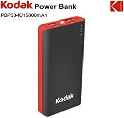 Kodak PBP03-K/15000mAh Power Bank (Lithium -ion) (Red & Black)
