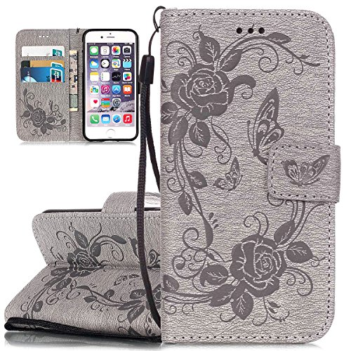 ISAKEN Custodia iPhone 6 Plus, Cover iPhone 6S Plus, Elegante borsa Custodia in Pelle Protettiva Flip Portafoglio Case Cover per Apple iPhone 6 Plus (6 5.5) / con Supporto di Stand / Carte Slot / Chi Farfalla fiori: grigio