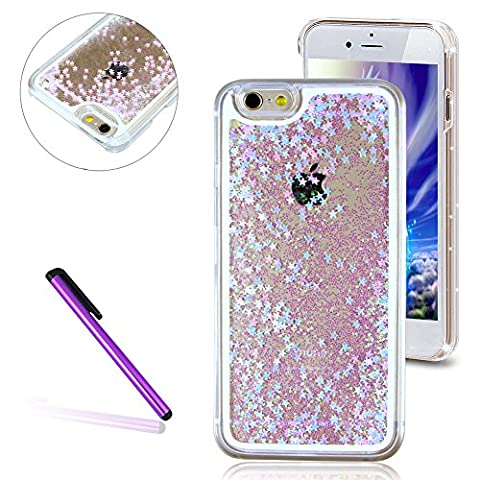 iPhone SE Case,iPhone 5S Case,iPhone 5 Cover,EMAXELERS Fluorescent Stars Series 3D Glitter Liquid Floating Change Color Sequins Bling Moving Hard Protective Case for iPhone SE/5S/5 + Send 1Pcs Stylus Pen-- Fluorescent Star:
