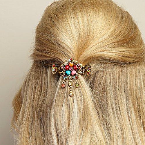 Haarschmuck Blumen Haarschmuck-Blumen Haarspange Rosegold Haarschmuck Hochzeit Haarklammer Diamante Haarkralle Haargreifer Kristall Strasssteinen Haar-Accessoire...