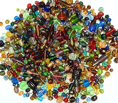 Kit Glas Kinder Perlen zum Fädeln Silberfolie Lampwork Glasschliffperlen Feuerpoliert Rund Oval Bunte Perlenset Bastelset zur Schmuckherstellung von Halsketten Armband (500) ()