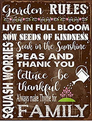 Harvesthouse Garden Rules Metal Sign, Spring, Country Home, Rustic décor by -
