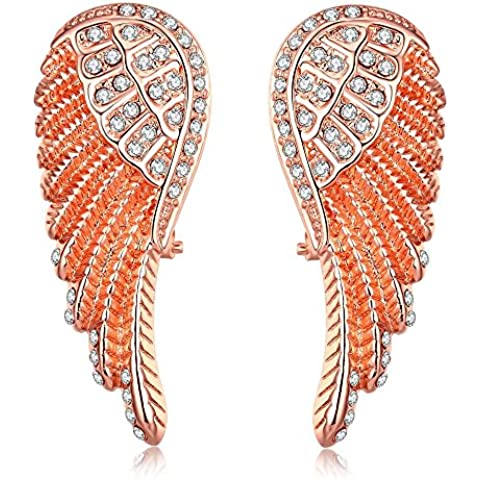 icareu bañado en oro rosa diamantes alas de ángel pendientes de tuerca para las mujeres, las niñas