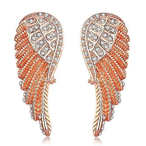 JVIVJ Boucle d'oreilles pendantes en forme d'aile d'ange, Plaqué Or rose, Oxyde de zirconium
