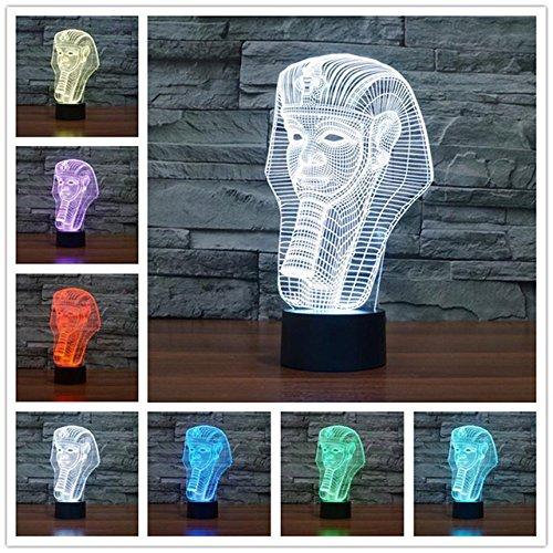 3D ägyptens pharao Illusions-Lampen, Tolle 7 Farbwechsel Acryl berühren Tabelle Schreibtisch-Nachtlicht mit USB-Kabel für Kinder Schlafzimmer Geburtstagsgeschenke Geschenk