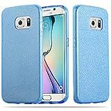 Cadorabo Hülle für Samsung Galaxy S6 Edge - Hülle in Sternenstaub Blau – TPU Silikon und Hardcase Handyhülle im Glitzer Design - Hard Case TPU Silikon Schutzhülle