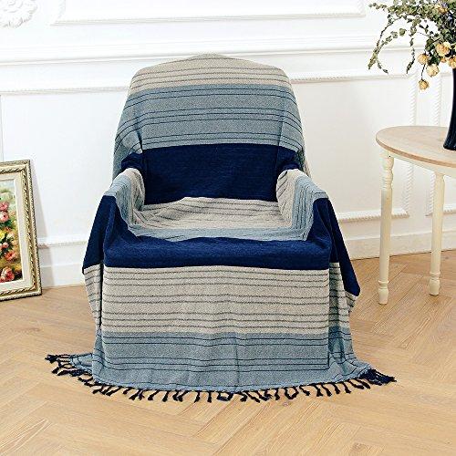 Double Face Usage Jeté de lit en tissu chenille pour lit Fauteuil Assez Grande pour Housse Canapé 2ou 3places–Rayures bleues, 150 x 190 cm