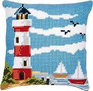 Vervaco Lighthouse Scene Cross Stitch Cushion, Multi-Colour