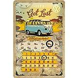 Nostalgic-Art 22203 Volkswagen VW Bulli Let's Get Lost Kalender Blechschild, 20 x 30 cm