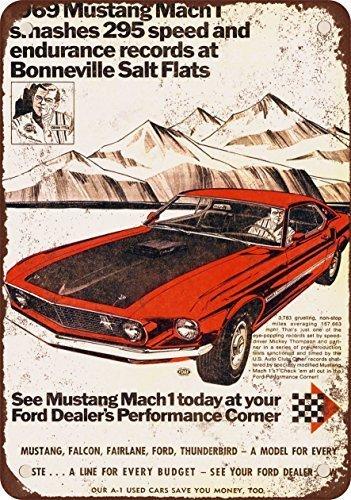 PotteLove 1969Ford Mustang Mach 1Bei Salz von Bonneville, Vintage Metall Schilder 20,3x 30,5cm Mustangs Wc