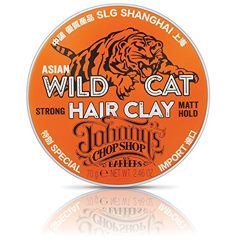 Johnny\'s Chop Shop Wild Cat Hair Clay Modelliermasse | Asian Wild Cat Hair Clay | wasserbasierte Pomade | matte Clay Pomade | 70g