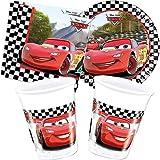 Set para fiestas de Cars de 37 artículos Disney con platos + vasos + servilletas + decoración de cumpleaños para niños; fiesta de cumpleaños ambientada en coches de carreras