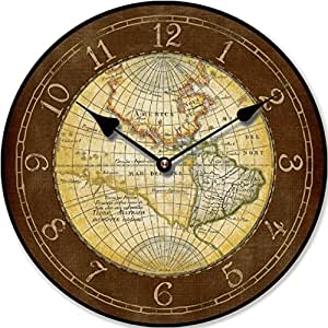 horloge murale carte du monde ancienne nostalgie 30 cm. Black Bedroom Furniture Sets. Home Design Ideas