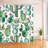 GWELL Duschvorhang Kaktus Wasserdicht Anti-Schimmel inkl. 12 Duschvorhangringe für Badezimmer Muster-F 180x180cm