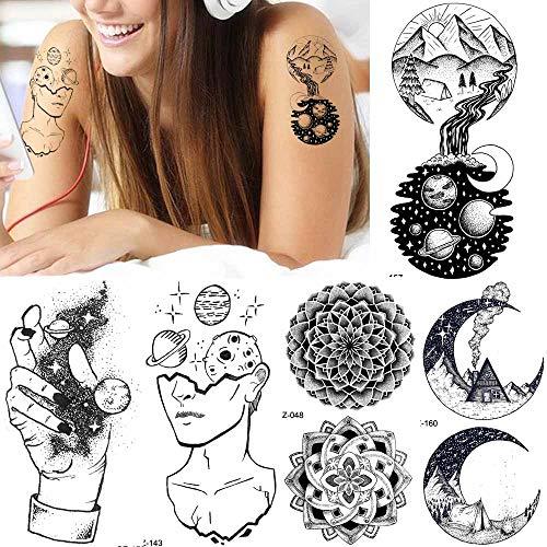 Lihaohao tatuaggi di tatuaggi creativi del tatuaggio del braccio del pianeta delle donne di colore nero uomini di luna tatuaggio temporaneo dell'universo del tatuaggio fiore falso della stella